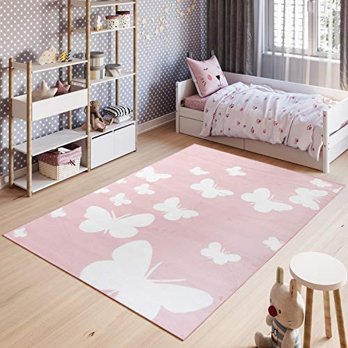 TAPISO Pinky Teppich Kurzflor Kinderteppich Kinderzimmer Pink Rosa Weiß Pastellfarben Modern Schmetterling Spielteppich ÖKOTEX 140 x 200 cm