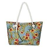 Große Strandtasche wasserabweisend mit Reißverschluss Tropical Vintage