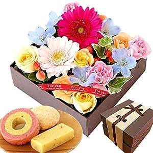 誕生日 プレゼント 花 バラ 人気商品 ケーキ洋菓子 お菓子 スイーツ お祝いギフト アレンジメント生花(BOXアレンジ・ミックス)