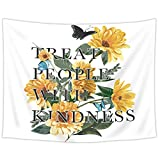 SVBright Sunflower Tapestry 51Hx59W Inch Treat People with Kindness Harry Motivational Quote Boutique Retro Floral Styles Art Wall Hanging Bedroom Living Room Dorm Decor Fabric