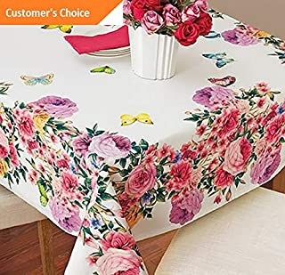 Kaputar Butterfly Roses Tablecloth Table Cover Vibrant Beautiful Luxury Cloth Garden New | Model TBLCLTH - 943 | 70034