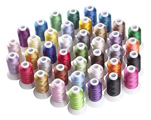 Simthread Polyester Maschinen Stickgarn - 40 Farben, 550 Yards, für Brother, Babylock, Bernette, Janome, Kenmore, Singer, W6 N 5000 Stickmaschine