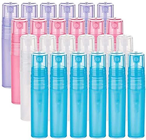 Siwanm Lot de 24 flacons vaporisateurs 5 ml non toxiques transparents rechargeables en plastique Convient pour le nettoyage/parfum (bleu, violet, transparent, rose)