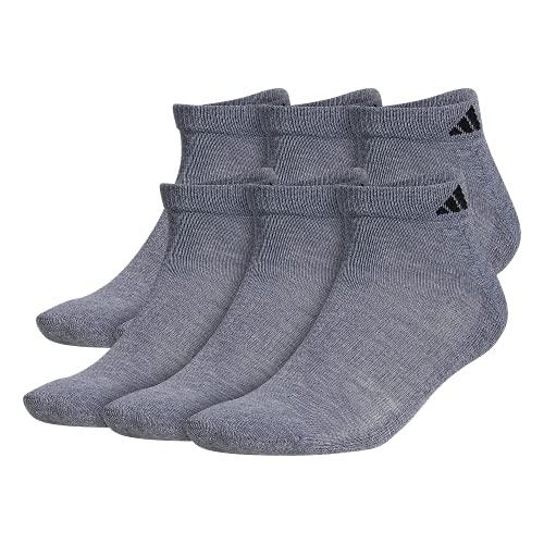 adidas Calcetines de corte bajo para hombre y hombre, acolchados, talla XL, 6 unidades, Hombre, Calcetines, 102402, Gris jaspeado/Negro, XL