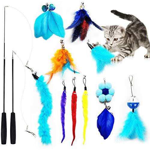 Interactivo Juguetes Para Gatos Juguete de Plumas de Gato Mascota Gato Captura Juguetes De Entrenamiento con Campanas,Varita Retráctil y 10PCS Plumas Seguridad no Tóxica para Gatitos