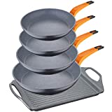 San Ignacio PK1283 Lava Set de sartenes 20/24/26/28 + plancha 45 cms, aluminio forjado, Inducción