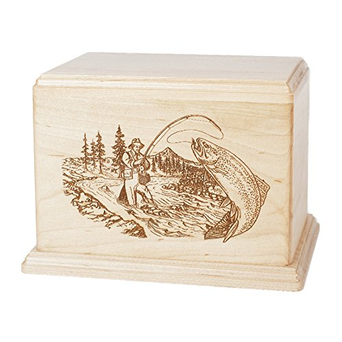 Maple Trout Stream Fishing Wooden Urn