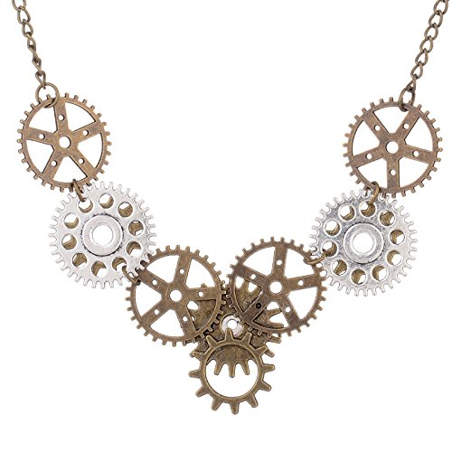 Novel Chic Personality Rock Fashion Gear Shaped Pendant Design Necklace is welded, riveted assembled, novel style innovation,Suitable for Women Men Accessories Handmade multi-gear,wings,rhinestone,hour hand combined pendant Vintage steampunk style ne...