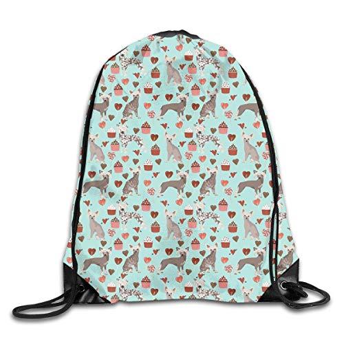 wusond Dog Love Cupcakes Sport Drawstring Backpacks Travel Daypack Sackpack Graphic String Bag For Men Women