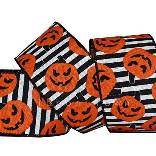 TAKAZOON Ribbons Supplies for 10 Yards Halloween Pumpkin Jack o Lantern Orange Black Wired Ribbon for DIY Craft, Gift Wrapping, Christmas Wreaths Decoration. - 2 1/2'W.