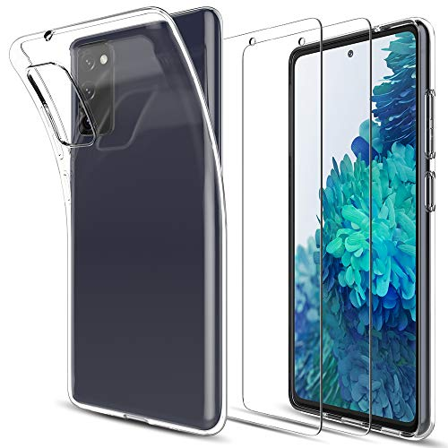LK Compatible con Samsung Galaxy S20 FE 4G/5G Funda con 2 Pack Protector de Pantalla Vidrio Templado, HD Transparente Carcasa Ultra Fina Suave TPU Silicona Gel Case Cover - Clara