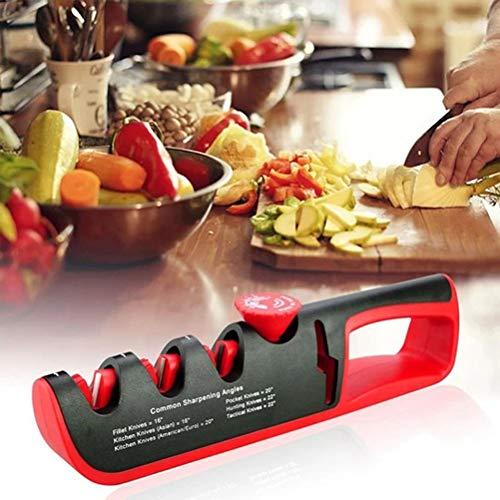 Fovor Kitchen Meilleur aiguiseur de couteau, professionnel 4 en 1 manuel aiguiseur de couteaux, antidérapant et ergonomique Design Outils de cuisine