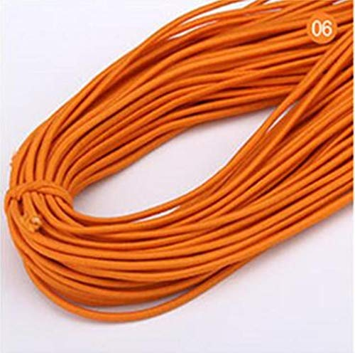 Hoogwaardige elastische band 14m * 2 mm kleurrijk rond elastisch verband rond elastisch touw elastiekjes lijn DIY naai-accessoires, oranje, 2 mm