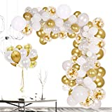 Zorara Balloon Garland Arch Kit for Party, White Gold and Confetti Latex Balloons 110PCS,Balloons for Baby Shower,Wedding Birthday, Graduation Anniversary Chirstmas Party Background Decorations