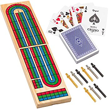 Regal Games Wooden Cribbage Board Game with Metal Pegs and a Standard Deck of Playing Cards