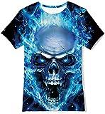 Goodstoworld 3D Camisetas Niño Niña Manga Corta Verano Gracioso T-Shirt Personalizada Calavera Azul Camisetas Tees 6-8 Años