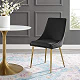 Modway Viscount Performance Velvet Dining Side Chair with Gold Stainless Steel Legs in Black