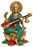 Hindu Goddess Saraswati Idol, Large Brass Statue Coral Hand Work, Sitting on Lotus Sculpture Figurine, Large Sarasvati 10 Inches