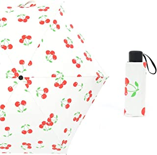 Lemon Cherry Fresh Windproof Umbrella 5 Folding Sun Umbrella Portable Shading Tool