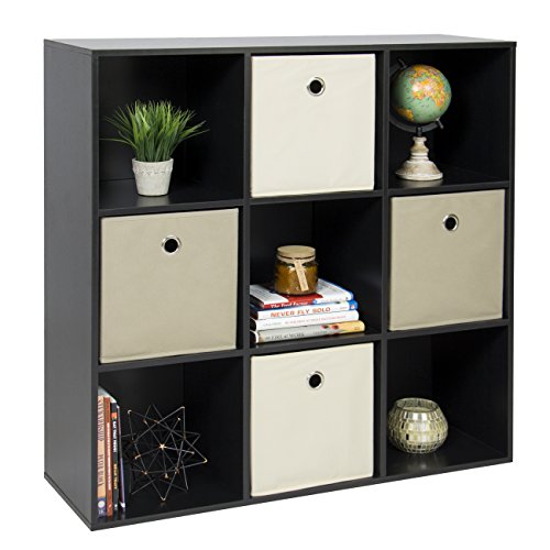 Best Choice Products 9-Cube Bookshelf Display Storage System Compartment Organizer w/ 3 Removable Back Panels - Black