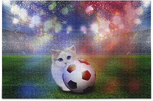 Cat Play American Football Soccer Ball in Fireworks Decor Stadium Jigsaw Puzzles Puzzle for Adults Kids DIY Gift,20.5 * 15 Inch, 500 pcs
