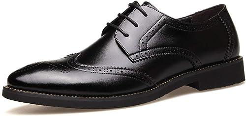 JIALUN-des Chaussures Chaussures Richelieu pour pour Hommes à Lacets Style réel Robe en Cuir Courtly Mariage Oxford Oxfords (Couleur   Noir, Taille   40 EU)