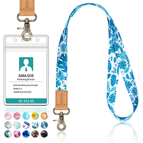 Long Neck Lanyard Leather Keychains with Metal Clasp, Sturdy Durable Women Men Id Badge Lanyard, Neck Lanyard Strap Ideal for Car Keys, Card Holder, Whistle, Keychain, Wallet