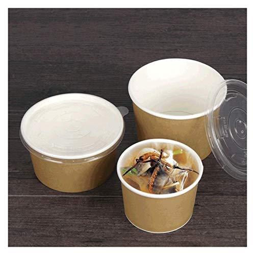 Gym Cuenco de Ceramica Tazón De Sopa De Papel Kraft Espesado con Tapa De Embalaje Sellada A Prueba De Fugas De La Tapa De La Tapa For Llevar [100 Paquetes] (Size : 9×6.2cm)