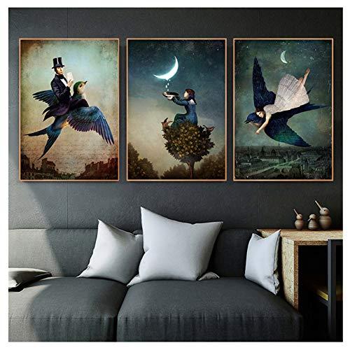 hutianyu Christian Schloe Poster Druck Vintage Surreale Kunst Wandkunst Retro Wandbilder Wohnzimmer Wohnkultur -50x70cmx3 Kein Rahmen