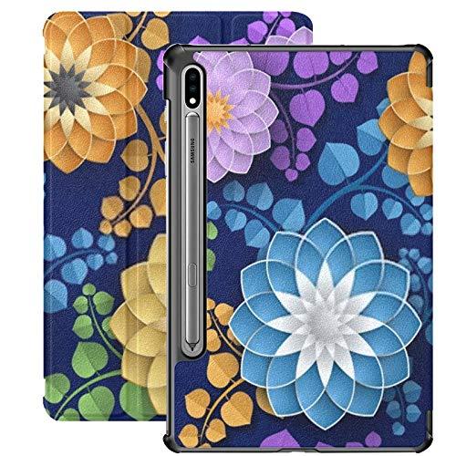 Smart Cover für Samsung Galaxy Tab S7 Plus 2020 Release 12,4 Zoll SM-T970 / T975 / T976 mit Stifthalter, dekorative Hintergrund 3D Bunte Blumen Wallpaper