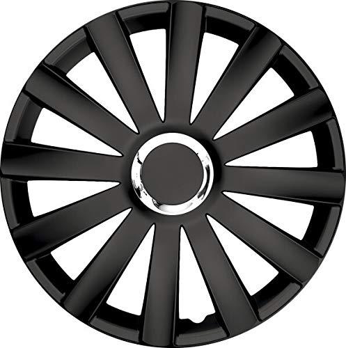 kh Teile Radkappen 17 Zoll Spyder pro Black schwarz 17' 2-Fach lackiert mit Chromring Radzierblenden 4er Set,...