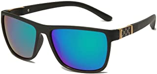 X&L - Gafas de Sol polarizadas Hombres Que conducen Visera para Hombres Gafas de Sol TR90 Hombres piernas de Fibra de Carbono UV400-Verde Negro