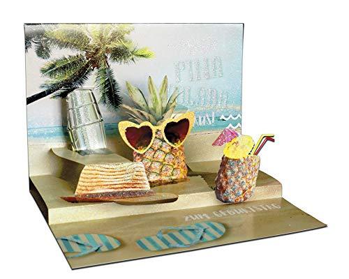 3D Pop – UP Karte Geburtstag, mit Glitter, Geburtstagskarte 3D, POP - UP Karten, POP UP Karten Geburtstag, Motiv: Ananas