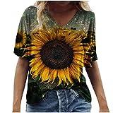 XUEbing Camiseta hawaiana casual de verano con estampado de flores escénicas de talla grande para mujer