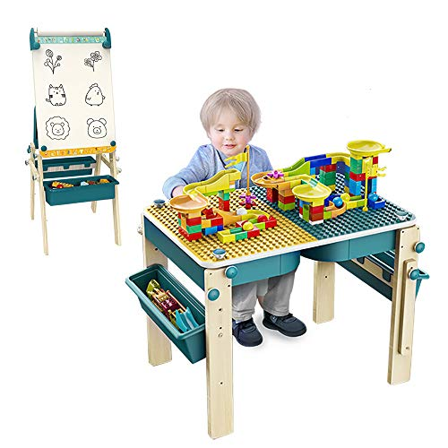 Kids Art Easel amp Multi Kids Activity Table with Chair 9in1 Adjustbale Kids Art Table Foldable Whiteboard Easel and Building Table with Storage for Toddler Boys and Girl