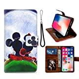 DISNEY COLLECTION Étui portefeuille en cuir PU pour iPhone X/10/XS Motif Mickey Minnie au paysage...