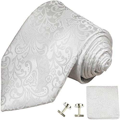 Cravate de mariage homme blanc ensemble de cravate 3 Pièces (longueur 165cm)