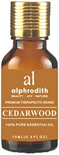 Alphrodith Aromatherapy Cedarwood Essential Oil 100% Organic Pure Undiluted Therapeutic Grade Scented Oils - 10ml for Diffuser, Relaxation, Skin Therapy & More