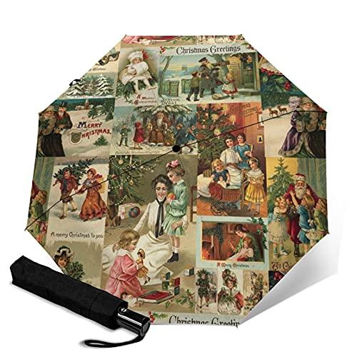 Parapluie automatique à trois volets, robuste, ouverture et fermeture automatique, coupe-vent, résistant à l'eau, pliable, protection UV, parapluie vintage victorien de Noël