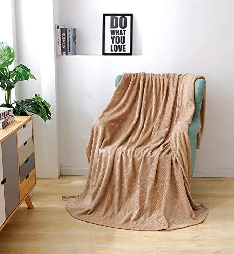 JessyHome Mantas de Felpa de Franela Doble/Doble Mantas de Cama de Felpa Suave Mantas de Cama onduladas para sofá/sofá 150x200cm-color Camel