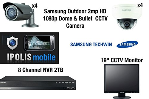 Samsung 8 cámara CCTV Kit - Full HD 1080p 4 cúpula y 4 balas 2MP externo con 8 CH NVR...
