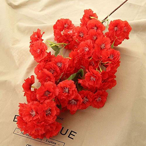 Interior Flores Artificiales Interior en florero, Flores de Cerezo-Champagne, 5 x, Servicio de Mesa, hogar, Oficina y decoración de la Boda Artificial (Color : Red)