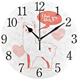 Zseeda 9,5 Pulgadas Reloj de Pared Moderno, Lindo Llama Amor día de San Valentín silencioso silencioso Reloj de Escritorio Redondo silencioso