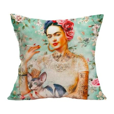 Insert Included 45cm Mexican Inspire Frida Kahlo with Sunglasses Cushion Cover
