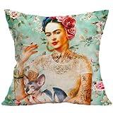 Homgomco Vintage Autorretrato Frida Kahlo Cojín Decoración para el Hogar Funda de Almohada Tamaño de Impresión 45 * 45 cm (White Cat)