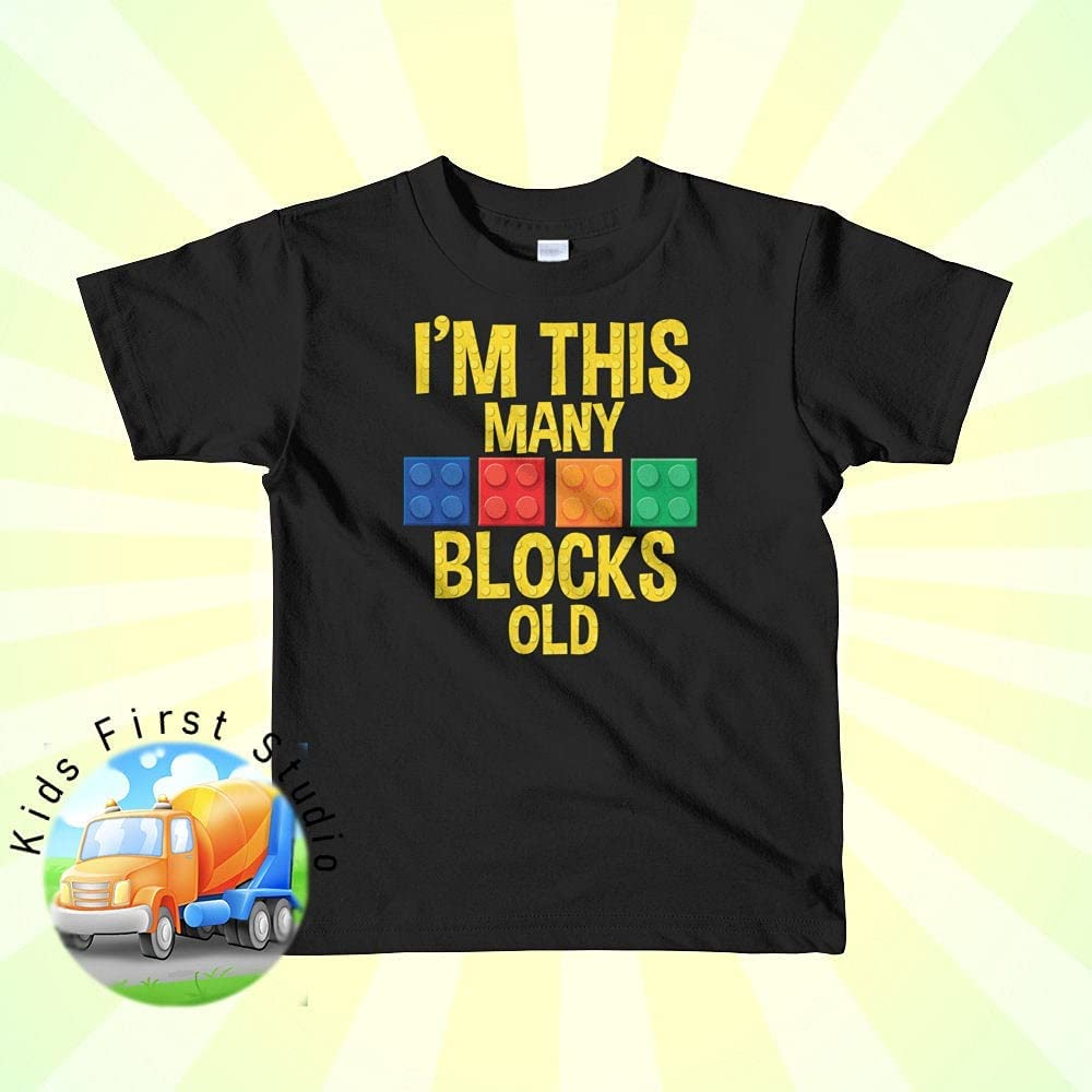Im This Many Build Blocks Old Birthday Shirt Toddler Boys and Girls Short sleeve kids t-shirt