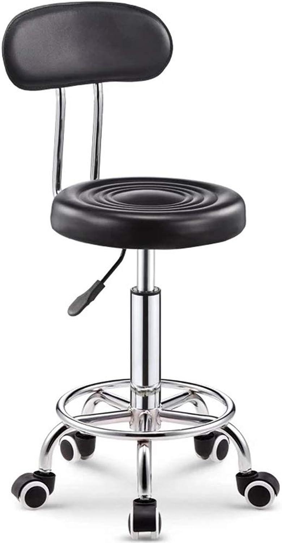 LJFYXZ Bar Stool, Salon Stool redating bar Stool PU upholstered seat Adjustable Height 44-56cm Multi-color Optional (color   Black)