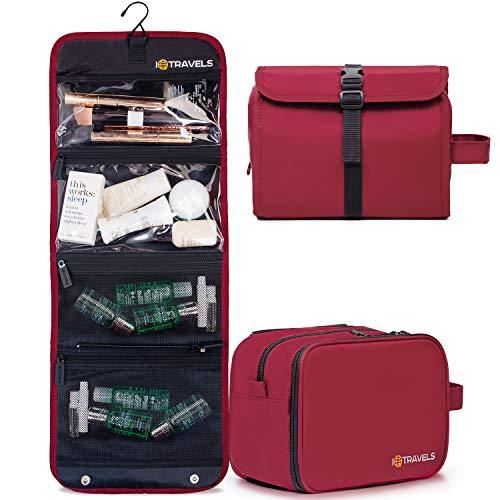 2-IN-1 Hanging Toiletry Bag for Women - Hanging Makeup Bag - Cosmetic Travel Bag - Travel Toiletries Bag For Women - Make Up Bag - Large Toiletry Bag for Women - Hanging Cosmetic Bag