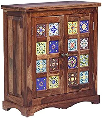 Solid Sheesham Wood Cabinet Table for Fascinating Living Room | Cabinet Table with Storage | Rustic Teak Finish