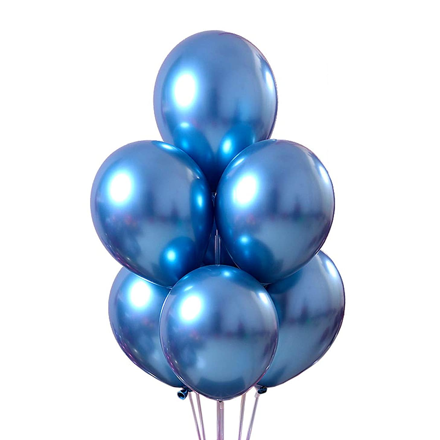 Juland 50 PCS Metallic Party Balloons 12'' Glossy Metal Pearl Latex Balloons Thick Pearly Chrome Alloy Inflatable Air Balloons for Birthdays, Bridal Shower – Blue